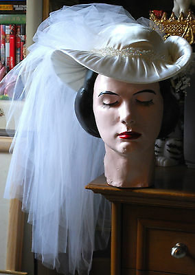 EXQUISITE Bridal BRIMMED IVORY WEDDING HAT W Beading & Attached Back WHITE VEIL