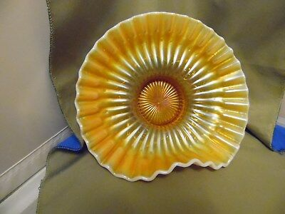 Nice Vintage Dugan Peach Opalescent Carnival Glass Daisy And Star Finger Plate