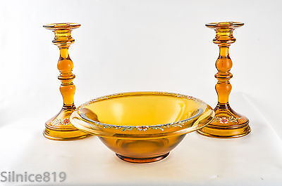 Vintage Tiffin Amber Glass With Applyed Flowers Console Set