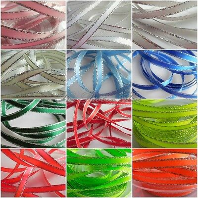 7mm Silver Edge Double Satin Ribbon 12 Shades 3 Lengths by Berisfords Free P & P