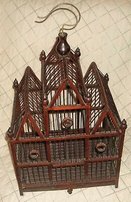 Vintage Victorian Style Asian Chinese Bamboo Wood Birdcage Bird Cage House with&