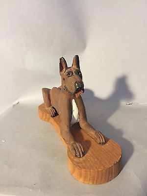 Gorgeous VINTAGE HAND CARVED WOODEN GREAT DANE SCULPTURE Bone shape base PAINTED