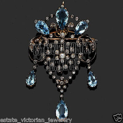 Amazing Antique Style 4.73cts Rose Cut Diamond Blue Topaz Jewelry Silver Brooch