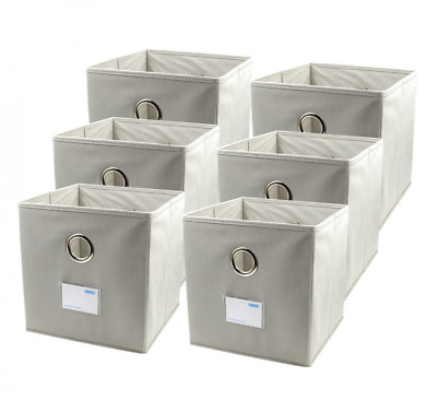 ESYLIFE Collapsible Fabric Storage Cubes Bins with Label Holder and Dual Metal H