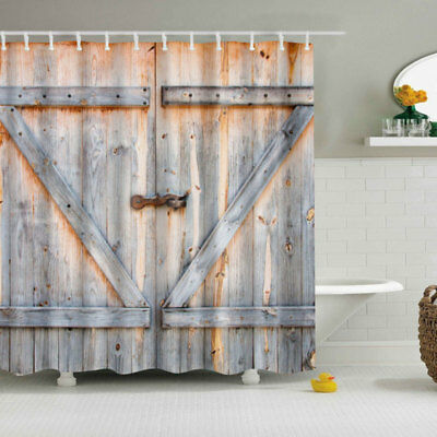 Vintage Rustic Barn Shed Farm Wood Door Bathroom Bath Shower Curtain Decor