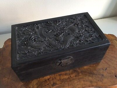 Chinese Old Wooden Box [ Dragon in cloud ] / W 26× D 15×H 10[cm]