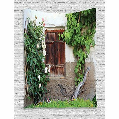 Tapestries Shutters Decor Collection, The Old Windows With Wooden Roses And Wine