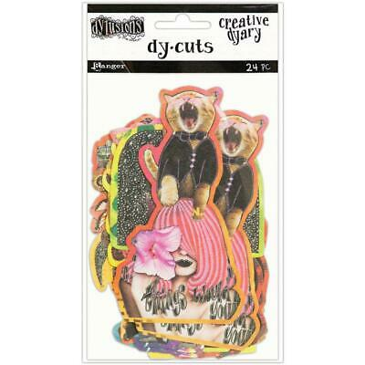 Dylusions Creative Dy-Cuts - Laughing Cat - 24 Die Cut Pieces