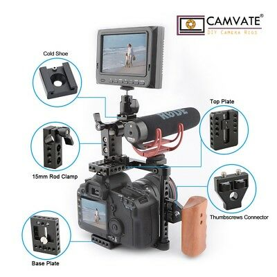 CAMVATE DSLR Camera Cage W/Wood Top Grip for Canon 60D,70D,50D,80D, 650D,600D