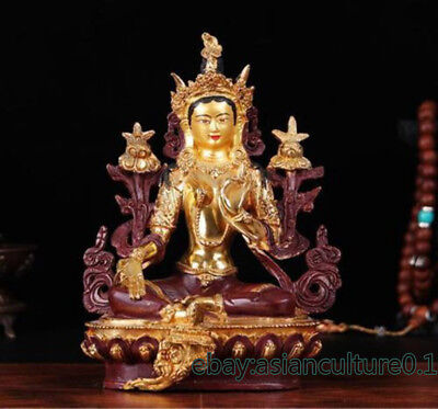 "8"" Old Tibet copper gilt hand painting Green Tara statue"