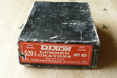 Vintage NOS DIXON Lumber Crayons 520-1/2 Soft Red Checking Pencil - Box of 12