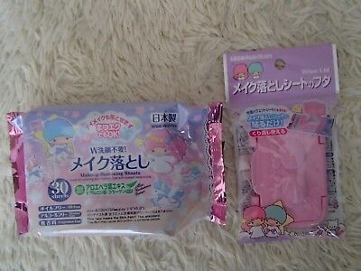 Daiso Japan Little Twin Stars Sanrio Makeup Removing Sheets Wipe Lid F/S Kawaii