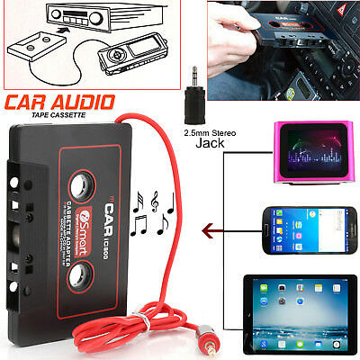 Car Audio Tape Cassette to 3.5MM Connector Jack AUX for Smartphoes IPhone iPod