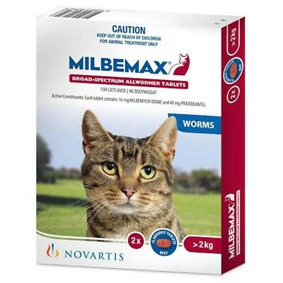 Milbemax Tablets All Wormer For Cats over 2kg - 2 packs & 20 packs available