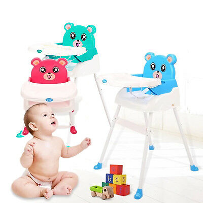 4 in 1 Foldable Baby High Chair Recline Highchair Height Adjustable Feeding Seat