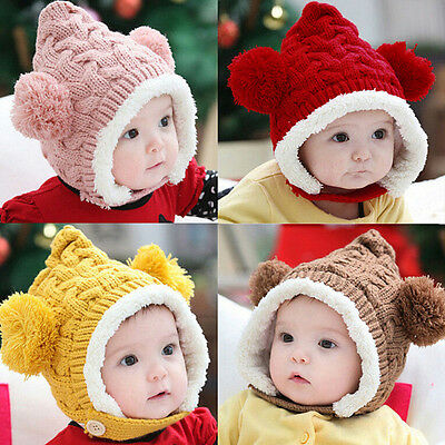 1 X Baby Hat Boy Girl Winter Fur Ball Bonnet Infant Ear Protector Cute Cap UJ2