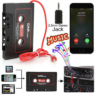 Car Audio Tape Cassette Adapter 3.5mm AUX Jack Cable Mobile iPod FM MP3 Player