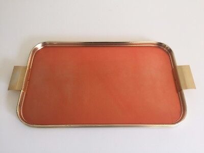 Vintage Mid Century Modern Art Deco Style Copper & Brass Plated Serving Tray