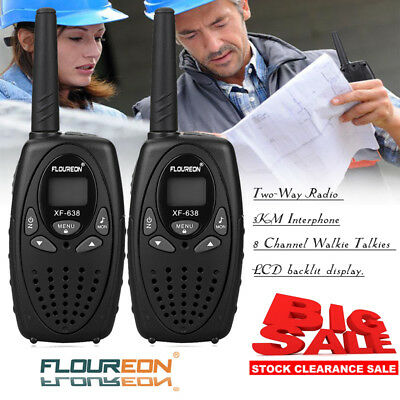 FLOUREON 2 X 8CH Walkie Talkies PMR Two-Way Long Range Radio 3KM Interphone UK
