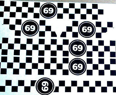 Vespa Checkered Vinyl Sticker Kit Racing Numbers Graphics Scooter Decals MOD PX