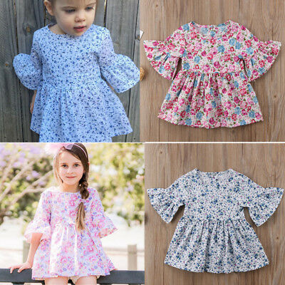 AU New Toddler Baby Girls Kid Princess Dress Floral Ruffled Party Dress Sundress