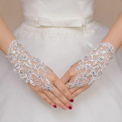 HOT Lace white/ivory Fingerless Short Paragraph Rhinestone Bridal Wedding Gloves