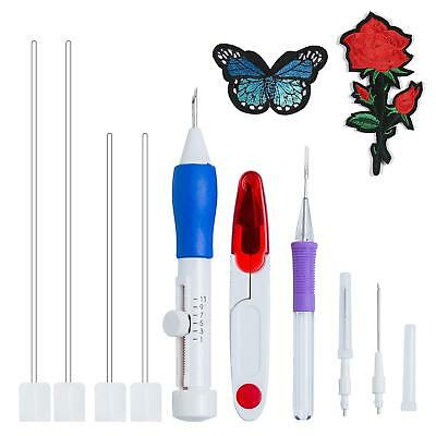 Embroidery Needle Pen Kit Set Craft Tool Thread Punch Magic DIY Knitting Supply