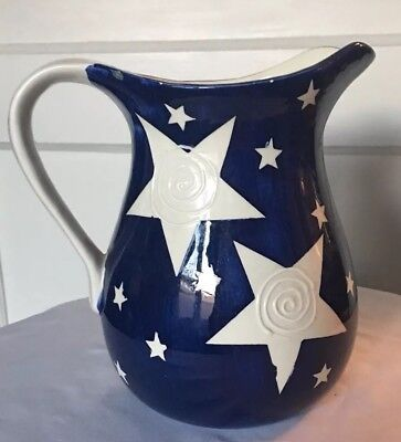 Beautiful American Flag (Red/White&Blue) WMG Water Pitcher–Vintage Hand Painted