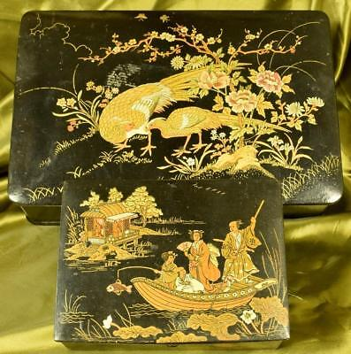 Two Gorgeous Antique Decorative Chinoiserie Lacquered Keepsake Boxes C1920