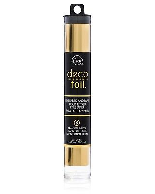 DECO Foil GOLD iCraft Add Metallic shine to Fabric & Paper (15x30cm) Gold