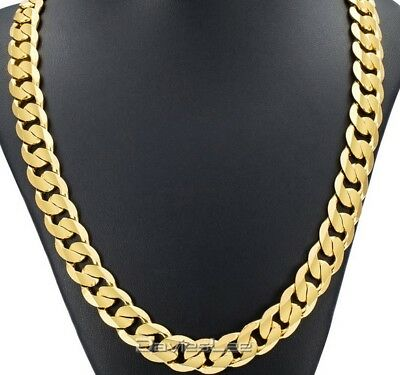 Heavy Mens 20 inch Gold Filled Stainless Steel Necklace Curb Link Chain 12mm N62