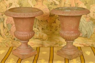 Fabulous Pair 19th C Antique French Cast Iron Garden Urns, Florist's Dream