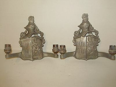 Pair-  Antique Cast Metal Medevil Knight English Double Wall Scones From England