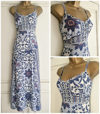 New Ex M&s Blue White Salmon Pink Floral Crochet Detail Maxi Dress Size 10 - 22
