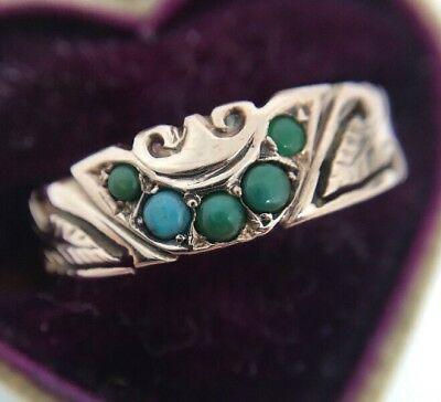 Antique Victorian Semi Circle Turquoise Yellow Gold Pretty Ornate Ring