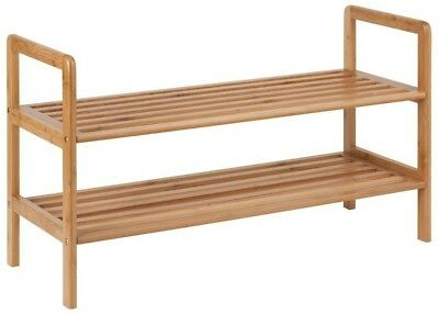 Honey Can Do 2-Tier 8 Pair Bamboo Shoe Storage Shelf Home Organizer Decoration