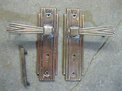 1 Pair Original 1932 Art Deco Brass / Copper plate Odeon Lever Handles  0247