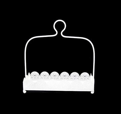 Rectangle White Laser Cut Metal 1 Tier Cake Stand