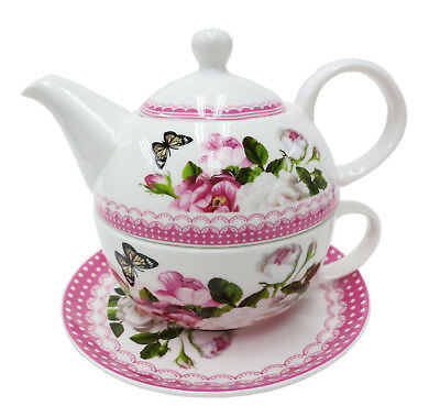 Pink Floral 2 piece TEA FOR ONE teapot and teacup set