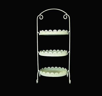 Oblong Mint Green Laser Cut Metal 3 Tier Cake Stand