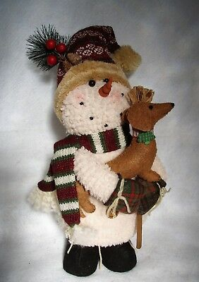 Dachshund Red Brown With Snowman Winter Holiday Christmas Decor Felt Sculpture