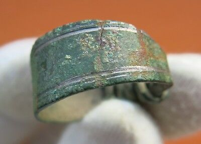 Ancient Viking Bronze Ring Silver Plated