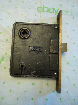 Old Russwin Mortise Lock, No Key, Brass Faceplate