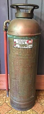 Vtg Empty Antique Copper Essanay Soda Acid Fire Extinguisher Firefighter Rescue