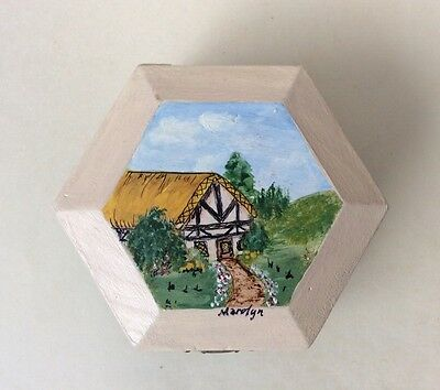 Vintage Handcrafted &Painted Wooden & Metal Hinged Octagon Shape Trinket Box