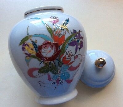 Vintage Chinese Characters Gold Trim &Flowers Painted Signed Bottom Ginger Jar