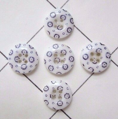 "Antique Lot of 5 Matching Calico China Sewing Buttons approximately 7/16"" size"