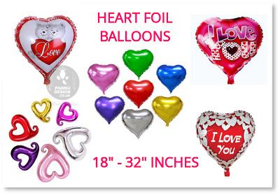 Large Red Heart Love Valentines Day Romantic Foil Balloons Gifts Party Decor