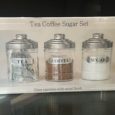 Set Of 3 Glass Tea Coffee Sugar Jars Canisters Kitchen Storage Silver Lid Jars & SET OF 3 Glass Tea Coffee Sugar Jars Canisters Kitchen Storage ...
