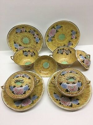 Set of Japanese Cream Soup Bouillon Bowls Cups Eggshell Porcelain Chrysanthemum